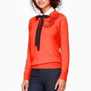 ksny red crewneck flower sweater, xs